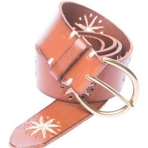 Lucky Brand   White Sparks Brown Leather Belt